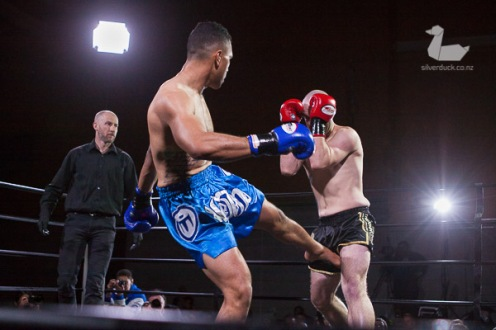 Sam Gourley vs Lau'c Tualupe, Capital Punishment 39, Wellington. Photo by Silver Duck.