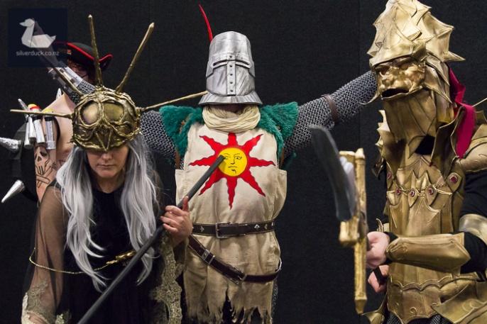 Aldrich, Solaire & Ornstein, Dark Souls cosplay by Rhia Mchugh, Jonny Rutherfurd & Kirk Smith.