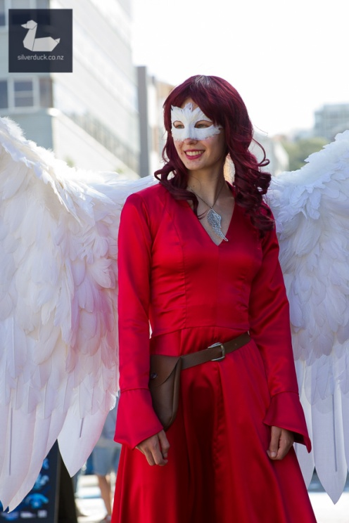 Lady Cardinal by Ravenheart Cosplay at Cuba Dupa 2018. Wellington, New Zealand. Photo by Silver Duck.