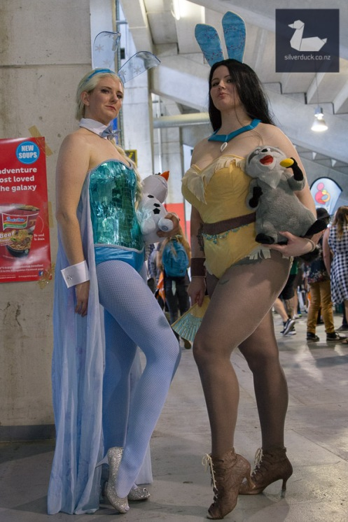 Elsa Bunny by Zub Kitty Cosplay and Pocahontas Bunny by Rogue Diva Cosplay. Wellington Armageddon Expo 2018. Photo by Silver Duck.