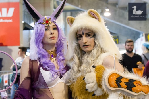 Espeon by Kate Alex and Arcanine by Mallory Jane. Wellington Armageddon Expo 2018. Photo by Silver Duck.