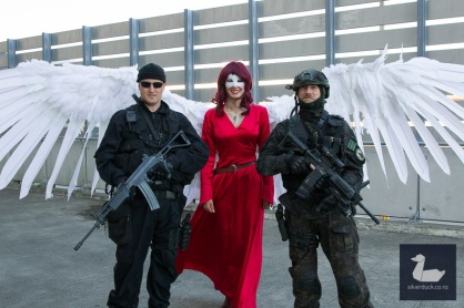 Lady Cardinal by Ravenheart Cosplay with Zombie Response Unit. Wellington Armageddon Expo 2018. Photo by Silver Duck.