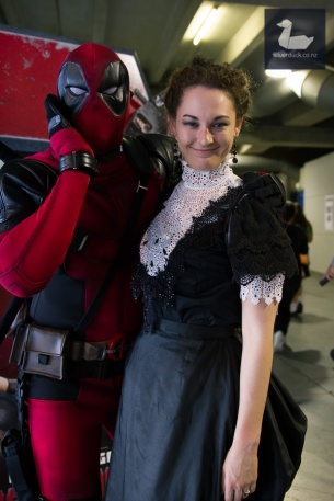 Vanessa Ives cosplay by Kat Hardwick and Deadpool. Wellington Armageddon Expo 2018. Photo by Silver Duck.
