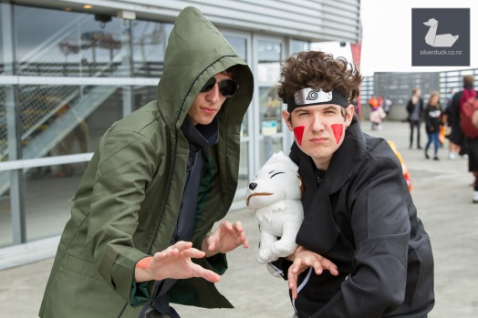 Shino Aburame, Kiba Inuzuka & Akamaru, Team 8 cosplay. Wellington Armageddon Expo 2018. Photo by Silver Duck.