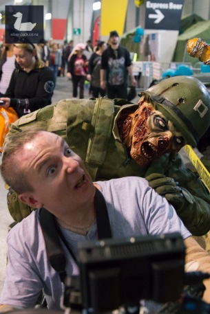 Humphrey and Zombie. Wellington Armageddon Expo 2018. Photo by Silver Duck.