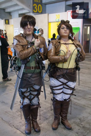 Eren Yaeger and Hange Zoe (Attack the Titan) cosplay by Jasmine and Ruan. Wellington Armageddon Expo 2018. Photo by Silver Duck.