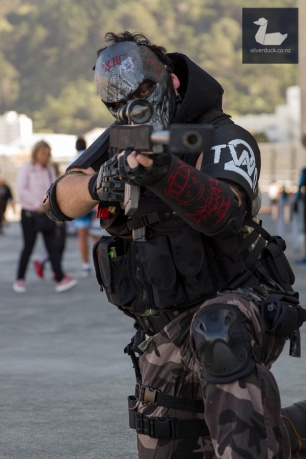 Army of Two cosplay by Shinra Props and Cosplay. Wellington Armageddon Expo 2018. Photo by Silver Duck.