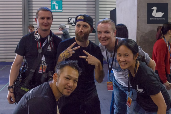BTS Wellygeddon 2018. Silver Duck and No Hands No Excuses with SpicyThaiDesign after interview with Fakenerdboy. Wellington Armageddon Expo 2018. Photo by Paul Johanson for No Hands No Excuses, for Silver Duck.