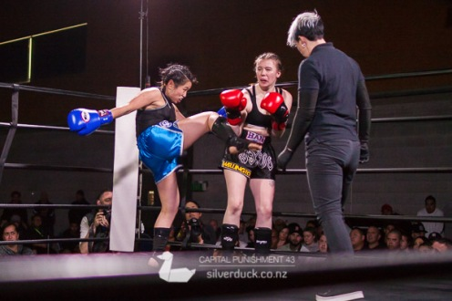 Capital Punishment 43 fight 3. Tori Pointon (Wellington Thai Boxing) vs Vivian Ma (MTI Wellington). Copyright © 2018 Silver Duck. All Rights Reserved.