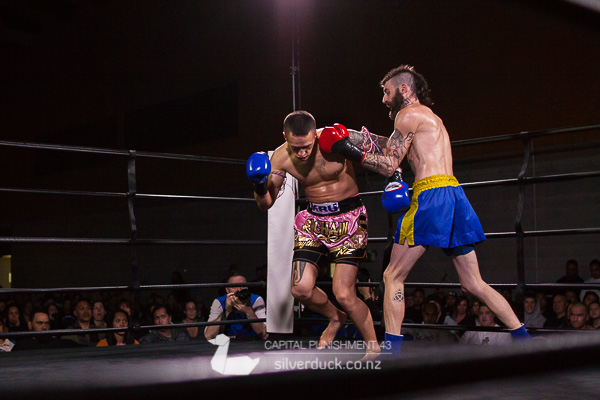 Capital Punishment 43 fight 6. Dan Robertson (Kapiti Thai Boxing) vs Tioirangi Smith (Ra Chain Muay Thai). Copyright © 2018 Silver Duck. All Rights Reserved.
