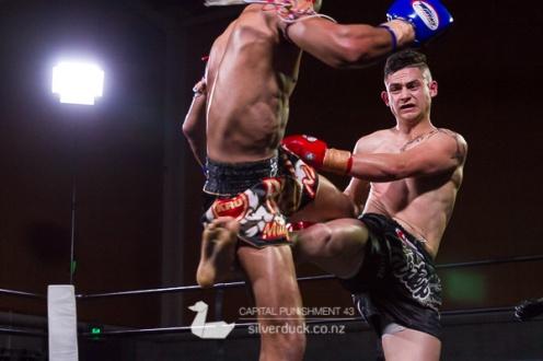 Capital Punishment 43 fight 13. Nikora Lee Kingi (South Island Lee Gar) vs Kru Chain (Ra Chain Muay Thai). Photo by Silver Duck.