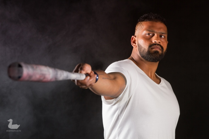 Sri Nair, in white tshirt + bat. Men at Photonflux Shoot. Copyright © 2018 Silver Duck. All Rights Reserved.