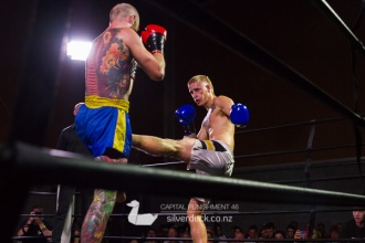 Capital Punishment 46. Fight 8 - Damon Smith (Kapiti Thaiboxing) vs Shiloh Jenkins (Scorpion Thaiboxing). Copyright © 2019 Silver Duck. All Rights Reserved.