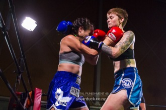 "Capital Punishment 46. Fight 12 - Jade Fleetwood (The Fortitude Gym) vs Rosie ""Spicy"" Sandiford (MTI Wellington). Copyright © 2019 Silver Duck. All Rights Reserved."