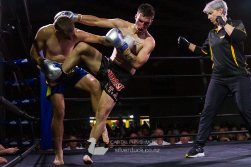 Jake Whawell (The Fight Shop) vs Joe Long (FTA Porirua). Capital Punishment 50, Wellington, NZ. Copyright © 2019 Silver Duck. All Rights Reserved.