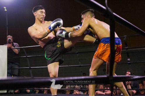 Jeffrey Lui (Mai Dojo) vs Tera Kotuhi (Alpha Muay Thai). Capital Punishment 50, Wellington, NZ. Copyright © 2019 Silver Duck. All Rights Reserved.