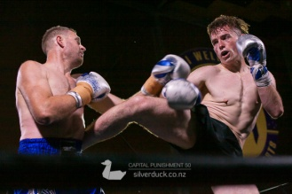 Brook Sutton (Maranui Muay Thai) vs Gordon Pye (The Fortitude Gym). Capital Punishment 50, Wellington, NZ. Copyright © 2019 Silver Duck. All Rights Reserved.